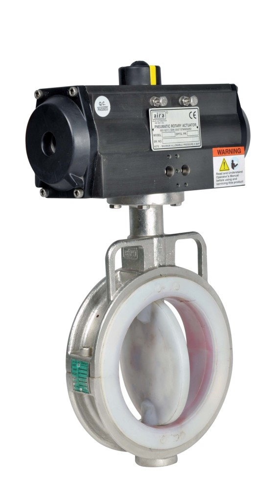 FEP and PFA butterfly valve
